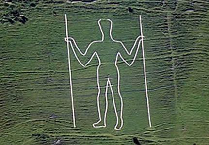 """O """"Long Man"""" de Wilmington é uma figura gigante esculpida numa encosta do sul da Inglaterra. David Downer 2006"""